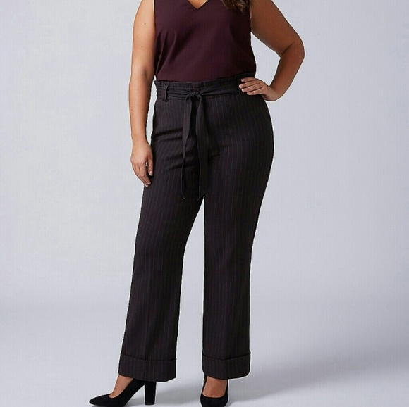 97fa6564f93 Lane Bryant high waisted belted trousers--STRIPED